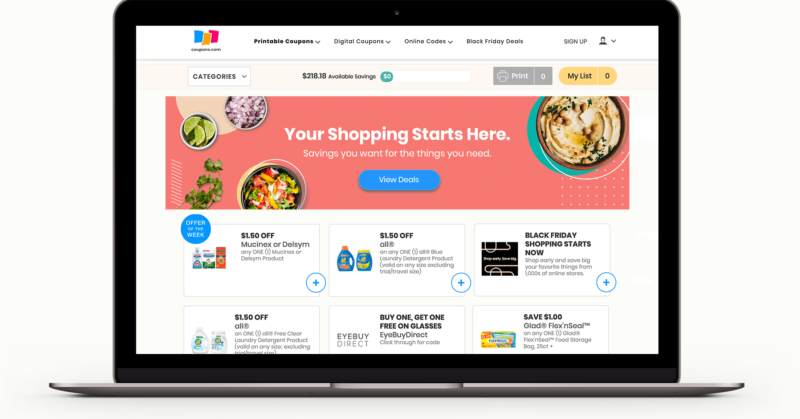 Mockup of coupons.com home screen on a laptop
